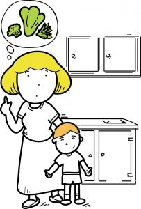 a cartoon image of a mom thinking of some healthy meal options for her child