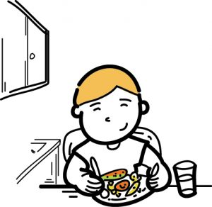 A cartoon child eating at the table