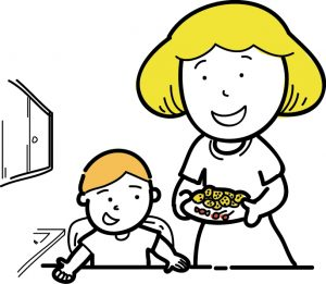 A cartoon mom bringing food to the table for her son
