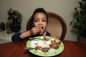 A child that is eating